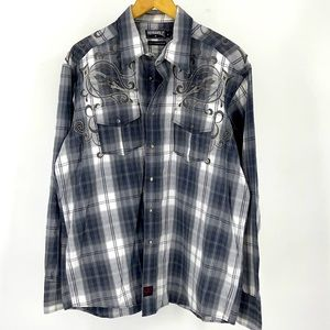 Panhandle Slim Embroidered Pearl Snap Shirt Plaid